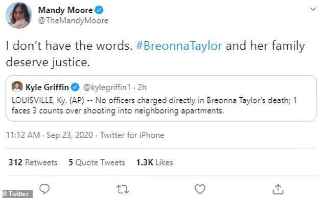 Beyond words:Singer/This Is Us star Mandy Moore was speechless, telling the public: 'I don´t have the words. #BreonnaTaylor and her family deserve justice'