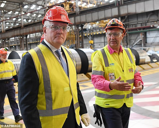 Bomshell letters reveal Scott Morrison (left at a steel factory last week) urged Daniel Andrews to accept troops three times