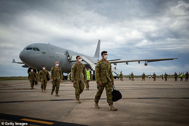 A total of 1,000 Australian Defence Force troops (pictured) arrived in Melbourne after Mr Andrews announce he agreed to accept them on 14 July