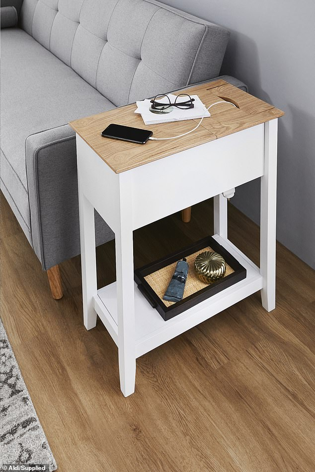 including chic sofa bed and side table