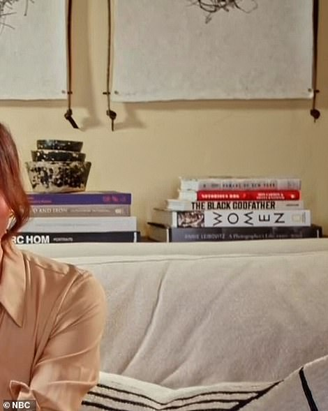 Meghan and Prince Harry's reading taste can clearly be seen displayed to the right of the image, where there is several books perched in a decorative pile