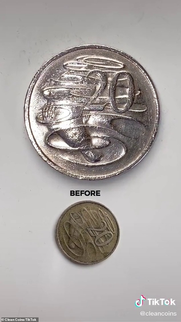The cleaner only used a cotton tip and High Strength Metal Cleaning Polish to give the coin a new look (pictured)