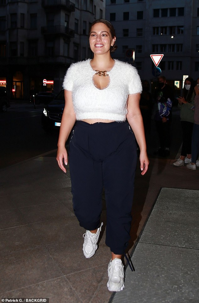 Stunner: Ashley Graham proved she is as fabulous off the catwalk as on, as she strutted her stuff through the Italian streets after the show on Wednesday