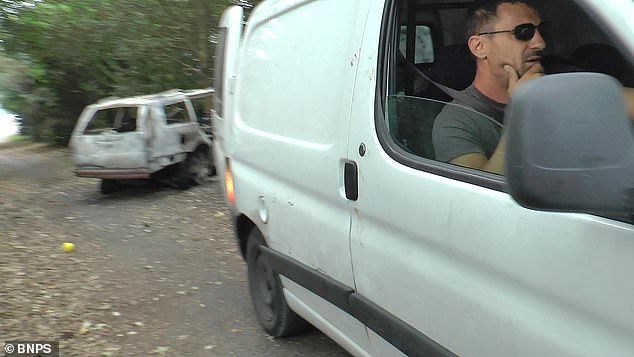 A second man waits in the white Peugeot van as the other retrieves the waste. The incident was reported to the Dorset Police and they are making enquiries