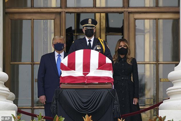President Donald Trump and first lady Melania Trump pay respects as Justice Ruth Bader Ginsburg on Thursday