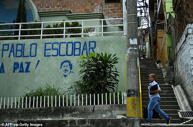 Escobar, who died in a shootout with police in 1993, was said to be the seventh richest person in the world at the peak of his powers. Pictured: the Pablo Escobar neighbourhood in Medellin