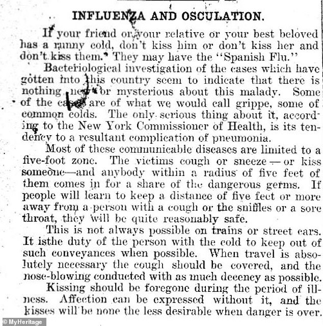 Flashback: Several old newspapers articles reveal that people were warned against kissing during the last pandemic, including this one fromThe Plattsburgh Sentinel in August 1918