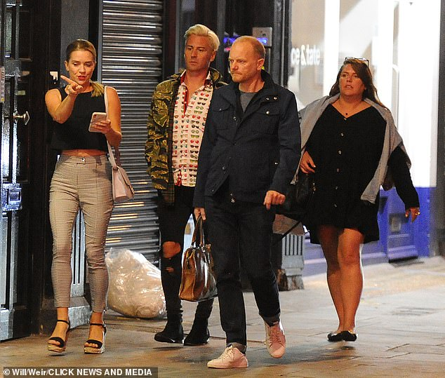 Night out: Candice has kept a close friendship with her former Dancing On Ice 2018 professional partner, Matt Evers, pictured second left
