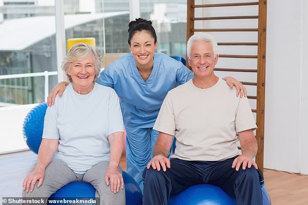According to researchers from the US, HIIT exercise routines — which feature short bursts of strenuous exercise — can help older patients, pictured, regain more function, faster