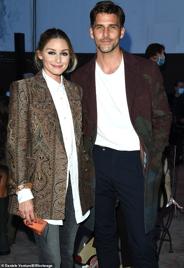 Glamour: The front row included Olivia Palermo, who could be spotted posing up alongside her husband of six years Johannes Huebl
