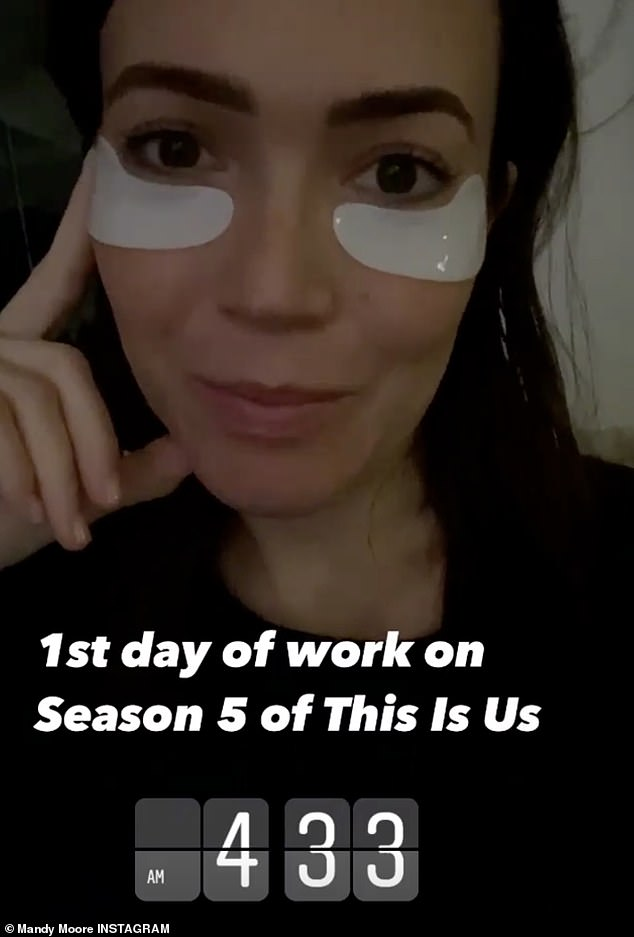 Back to work: A newly pregnant Mandy Moore, 36, announced on Instagram that she was back to work on This Is Us. Sharing behind the scenes looks, Mandy and her co-star Milo Ventimiglia, 35, were seen standing six feet apart and separated by glass partitions as they film amid the pandemic
