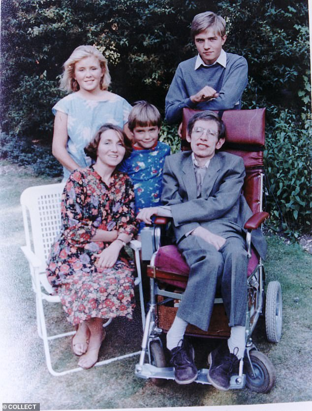 Professor Stephen Hawking and first wife Jane with children Robert, Lucy & Tim