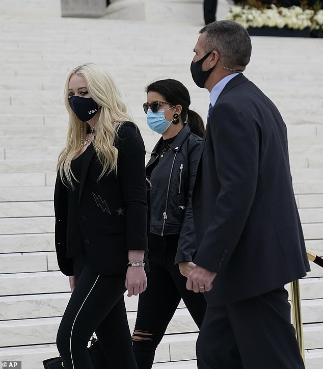 Support system: Tiffany was also joined by an unidentified woman who was also dressed in black