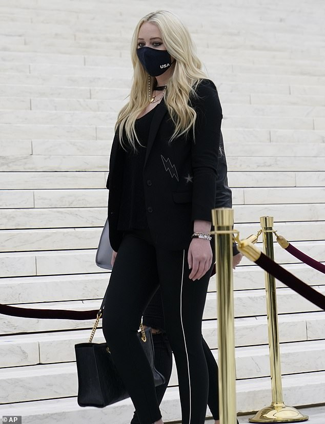 Paying tribute: Tiffany Trump, 26, paid her respectsto the late Justice Ruth Bader Ginsburg at the U.S. Supreme Court on Thursday