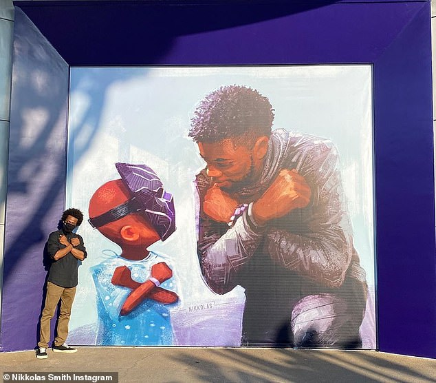 'To millions of kids, T'Challa was a legend larger than life, and there was no one more worthy to fill those shoes than Chadwick Boseman,' the artist noted in his Instagram caption