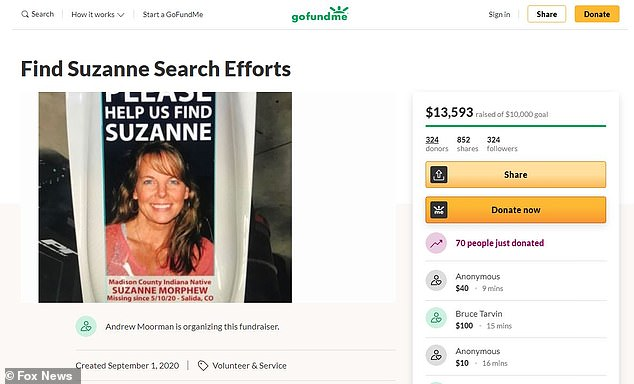 Moorman set up a GoFundMe campaign earlier this month to help fund the grassroots search operation. More than $13,000 have been raised of the $10,000 goal