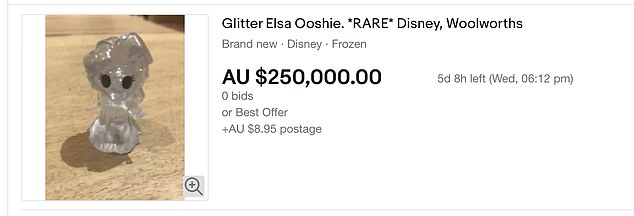 One reseller is flogging a glittery Elsa Ooshie for a ridiculous asking price of $250,000 on eBay