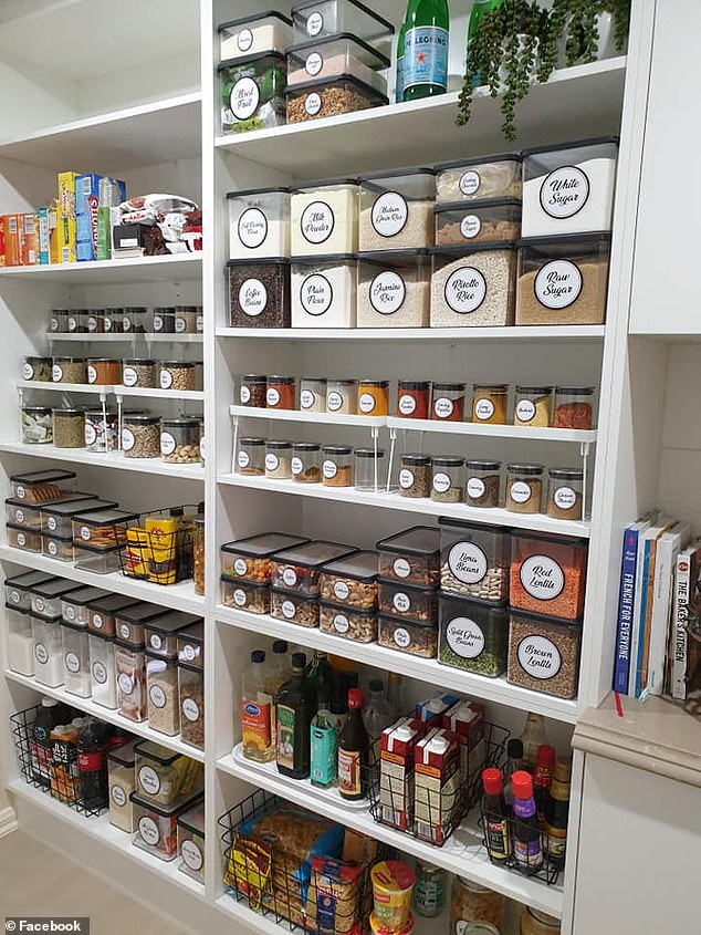 An Australian mum has amazed hundreds of others online after sharing images of her perfectly organised pantry (pictured)