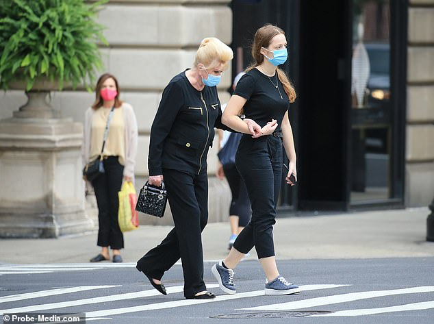 Dressed all in black, the mother of Donald Trump Jr, Ivanka Trump and Eric Trump wore a disposable face mask as she traveled home from the salon