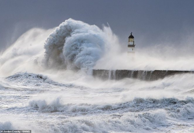 Winds of up to 65mph battered the East of England yesterday, while huge waves hit into the coast of Seaham in Durham