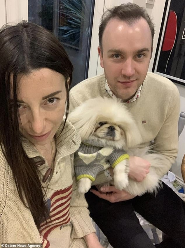 Giulia and Richard with Eric, who is sporting a very stylish knitted sweater. Giulia is from Italy and spoils Eric with treats from her homeland