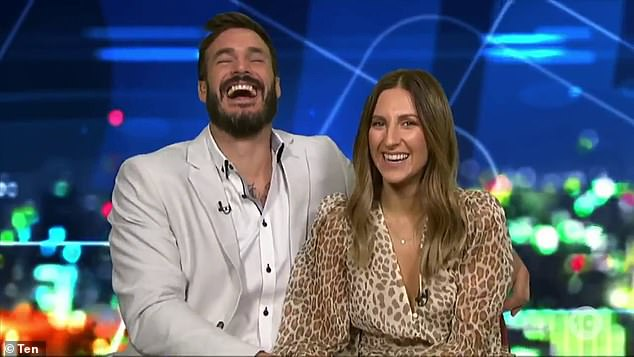 Tee hee!The comment left the pair, who were cuddled close together during the interview, giggling coyly