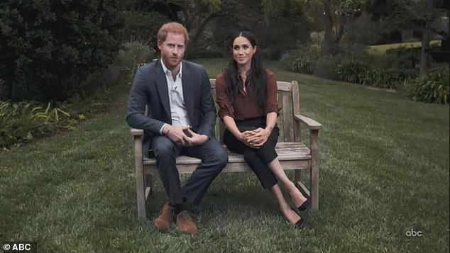 The Duchess of Sussex and Prince Harry, 35, now ensconced in an L.A. mansion, recently recorded a video message for Times 100 urging Americans to vote, hinting they support Democrat Joe Biden (pictured)