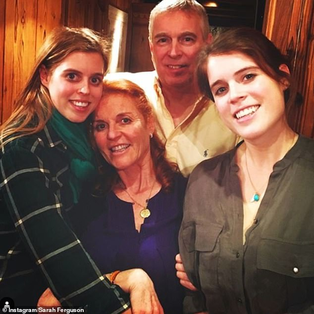 'Overjoyed!' Sarah Ferguson shared her excitement on behalf of herself and Andrew, saying: 'Soon to be Granny and Granddad are absolutely overjoyed!' Pictured, Andrew and Fergie with Beatrice (left) and Eugenie in an Instagram snap shared over lockdown