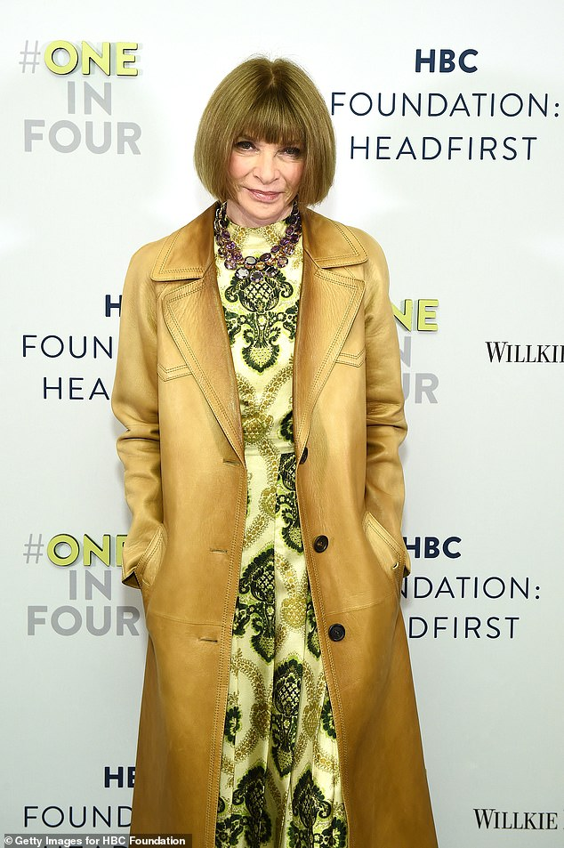 Eric's sleek hairdo is often compared to the stylish bob of Vogue's editor-in-chief Anna Wintour's (pictured in New York on May 14 2019)