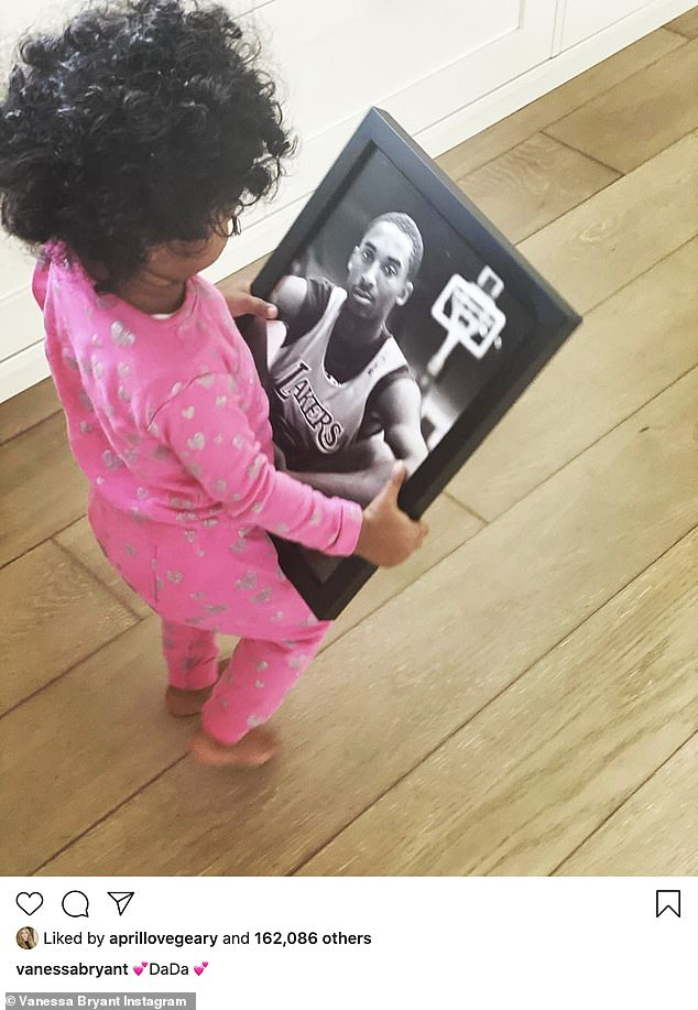 Mourning:Vanessa Bryant shared a heartbreaking Instagram picture on Friday showing her three-year-old daughter Bianka holding a photo of her late 'DaDa' Kobe Bryant