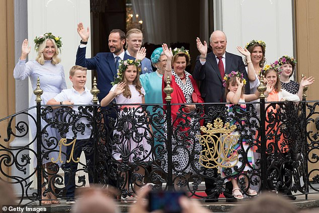 The Norwegian Royal Family is pictured at a garden party during the Royal Silver Jubilee Tour on June 23, 2016 in Trondheim, Norway. Norway's small population of just over five million means its royal family is costing its citizens £ 4.99 (€ 5.46) per capita
