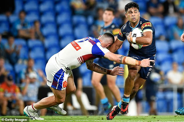 Titans star Tyrone Peachey (pictured right) alleges he was racially abused on Friday night in a NRL match versus the Knights