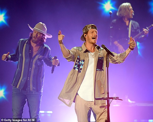 Top of the charts: Florida Georgia Line's first album hit number oneon the Billboard Top Country Albums chart; Hubbard is pictured with bandmate Brian Kelley
