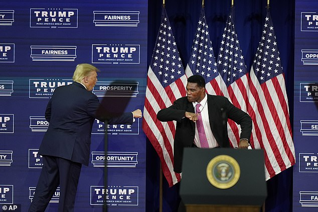 Trump is seen elbow bumping former football star Herschel Walker at the event in Atlanta, Georgia