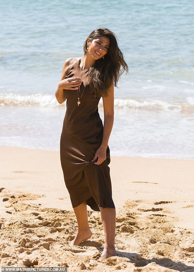 Glamorous! Pia Miller showed off her figure as she posed for a lavish photo shoot on the beach in Sydney on Wednesday