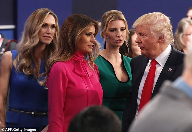 Lara (far left) is pictured with her mother-in-law Melania (center), sister-in-law Ivanka (second right), and father-in-law Donald in October, 2016