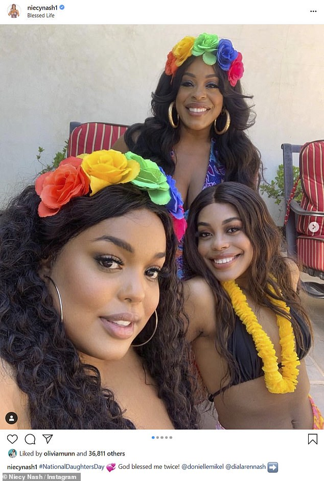 Mini-me: Niecy Nash, 50, was a doting mom in a series of photos with mini-me daughters Dia and Donielle, whom she shares with ex-husband Don Nash