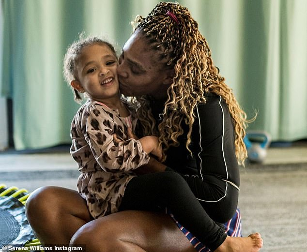 Fun times: Serena Williams posted some sweet photos of herself playing with daughter Alexis Olympia, three, writing: 'Fun times'