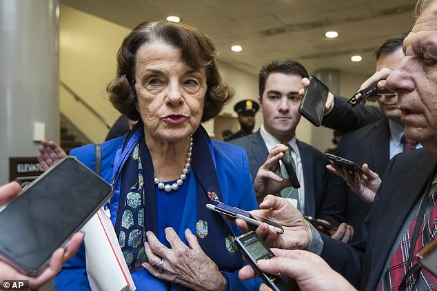 In 2017, during Barrett's confirmation hearing for her Court of Appeals seat, Sen. Dianne Feinstein, a Democrat (pictured), told the judge that 'the dogma lives loudly within you'