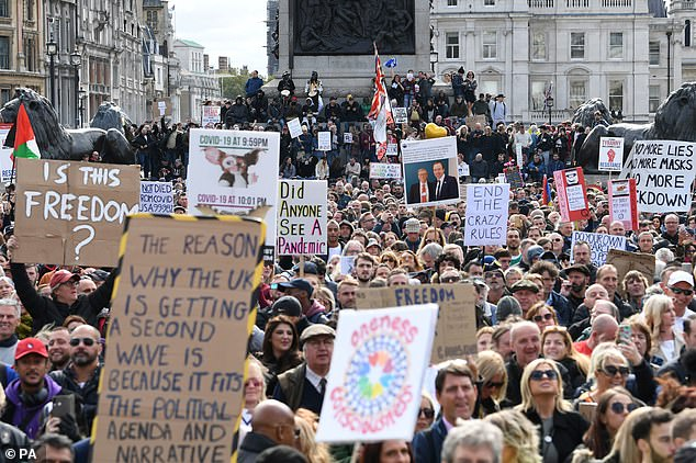 At least 15,000 people have descended on Trafalgar Square and Hyde Park in London as part of an anti-lockdown demonstration