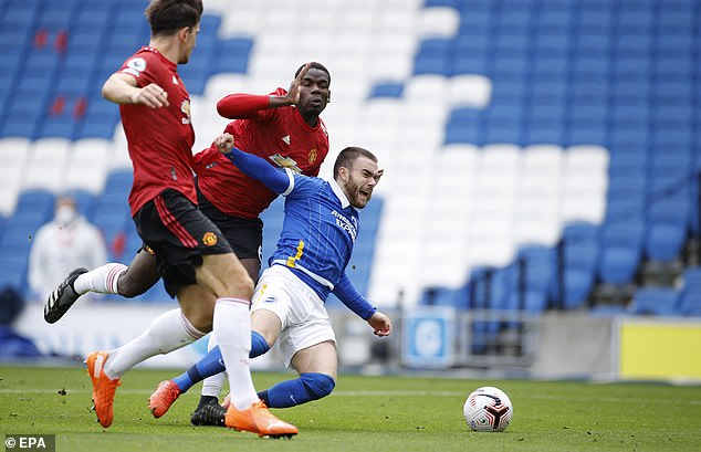 Pogba's challenge on Aaron Connolly in the area was canceled but he was still on display