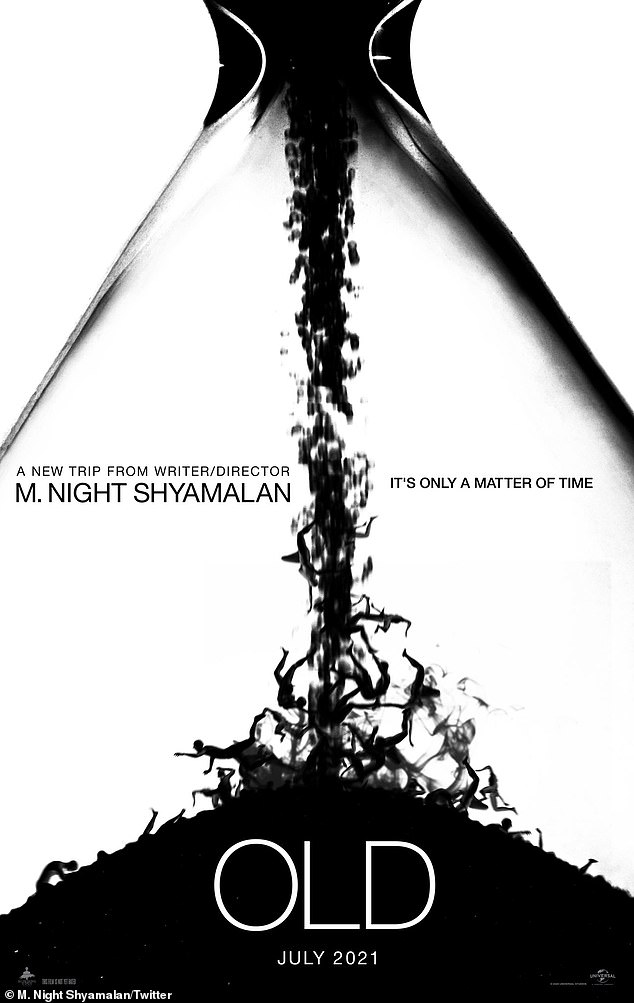 Creepy! The stylish artwork featured an hour glass, but with falling bodies instead of sand.'It's only a matter of time,' reads the tagline