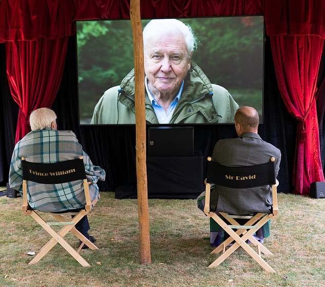 Socially distanced in the open air, The Duke of Cambridge and Sir David were offered director's chairs with their names printed on the back - but as a joke they sat in each other.