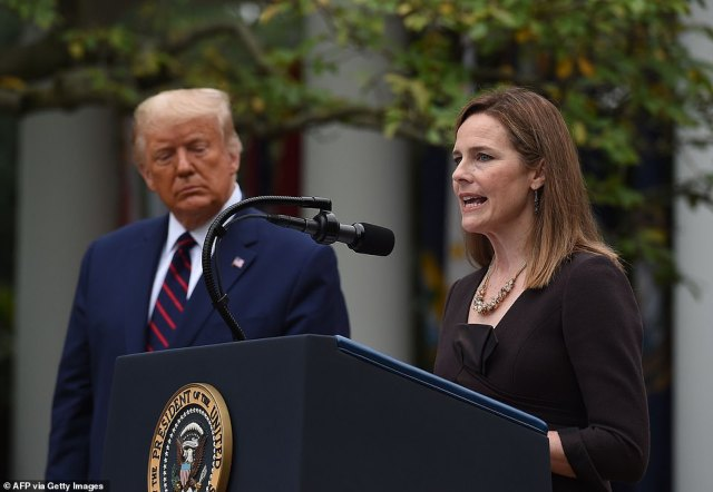 Judge Amy Coney Barrett gave brief remarks after being nominated to the Supreme Court by President Donald Trump