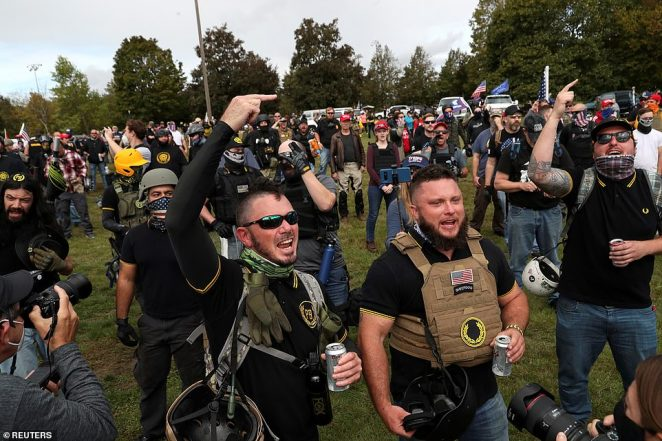 About 1,000 people gathered at the right-wing Proud Boys rally in Delta Park on Saturday in Portland, Oregon