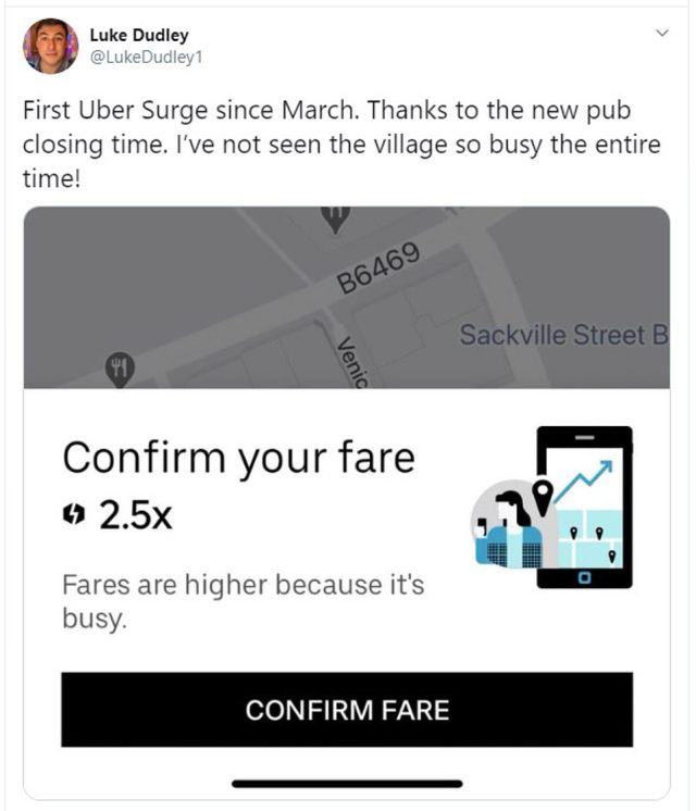 Making matters even worse, partygoers looking to get back home again after the curfew were subject to Uber surge prices