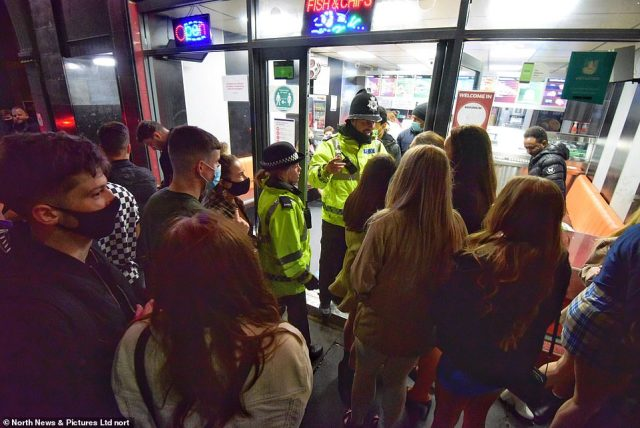 Large amounts of revellers were seen crowded outside a takeaway in Newcastle after the 10pm curfew there