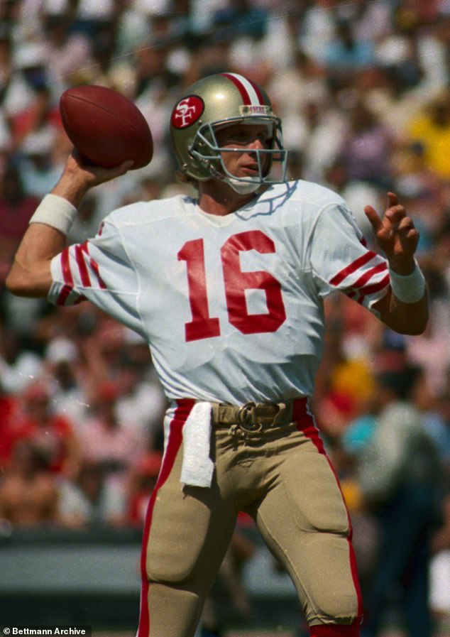 Joe Montana (pictured) was first drafted to the San Francisco 49ers in 1979 and would later win four Super Bowl championships from 1981 to 1989