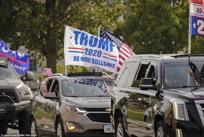 One vehicle held a sign that read: 'Trump 2020 No More Bullsh*t'