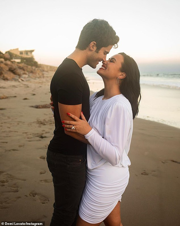 Addictive personality: Demi met Max in March, began quarantining together immediately, and they got engaged in July (posted July 22)